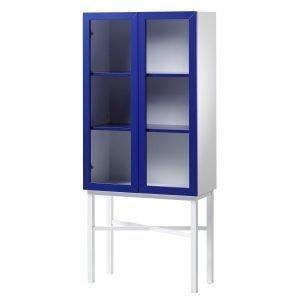 A2 Display Kaappi Sininen / Valkoinen / Valkoiset Jalat