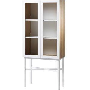 A2 Display Kaappi Valkoinen / Tammi / Valkoiset Jalat