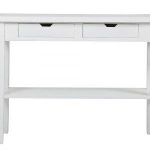 Acazia Sivupöytä Valkoinen 2 Laatikkoa / Alataso 100 Cm