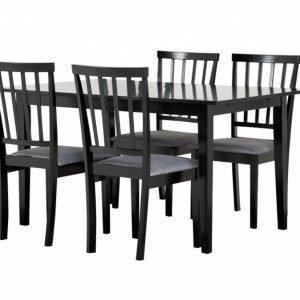 Alice Pöytä 140 Musta + 4 Tuolia Musta/Harmaa