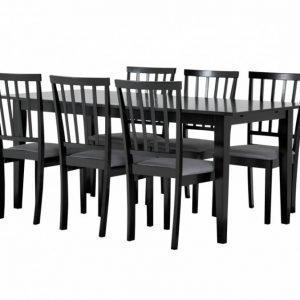 Alice Pöytä 180 Musta + 6 Tuolia Musta/Harmaa