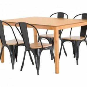 Alor Pöytä 140 Tammi + 4 Cannes Tuolia Musta/Puuistuin