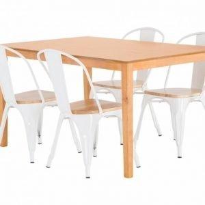 Alor Pöytä 140 Tammi + 4 Cannes Tuolia Valkoinen/Puuistuin