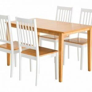 Alor Pöytä 140 Tammi + 4 Setar Tuolia Tammi/Valkoinen