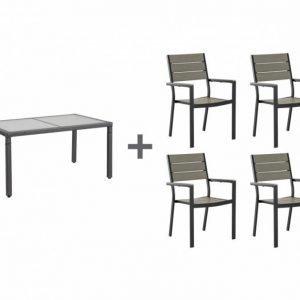 Aruba Pöytä 150 Ruskeaharmaa + 4 Lapaz Tuolia Musta/Harmaa