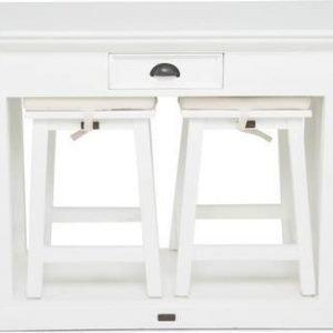 Baaripöytä Adele kahdella baarituolilla valkoinen mahonki