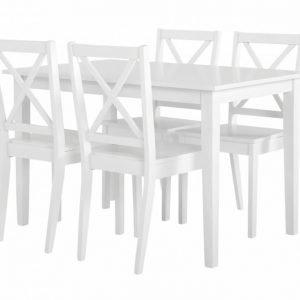 Barrington Pöytä 120 + 4 Tuolia Valkoinen