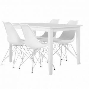 Barrington Pöytä 120 Valkoinen + 4 Shello Tuoli Valkoinen/Kromi