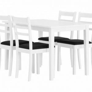 Barrington Pöytä 120 Valkoinen + 4 Sjöberg Tuoli Valkoinen/Musta