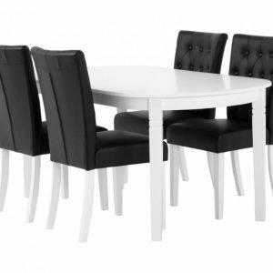 Bergström Pöytä 160 Valkoinen + 4 Kungälv Tuoli Musta