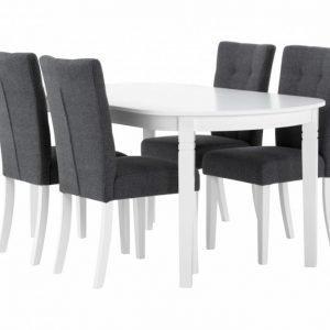Bergström Pöytä 160 Valkoinen + 4 Kungälv Tuolia Harmaa