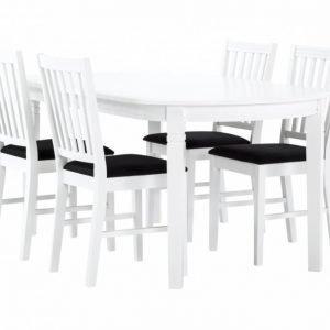 Bergström Pöytä 160 Valkoinen + 4 Tuolia Valkoinen/Tummanharmaa