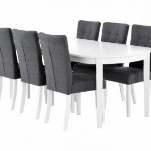 Bergström Pöytä 160 Valkoinen + 6 Kungälv Tuolia Harmaa