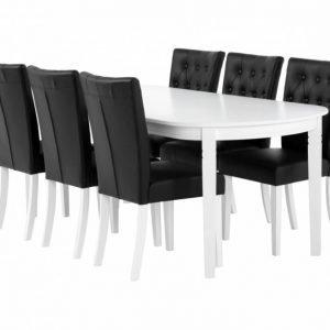 Bergström Pöytä 160 Valkoinen + 6 Kungälv Tuolia Musta