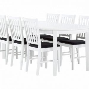 Bergström Pöytä 160 Valkoinen + 6 Tuolia Valkoinen/Tummanharmaa