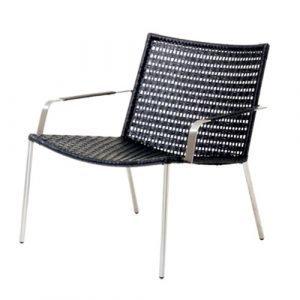 Cane Line Straw Lounge Tuoli Käsinojallinen Musta