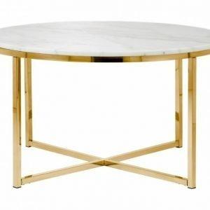 Carrie Sohvapöytä 80 Pyöreä Valkoinen/Messinki