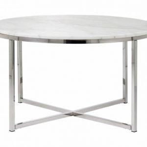 Carrie Sohvapöytä 80 Pyöreä Valkoinen/Teräs