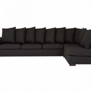 Chicago Large L-sohva Musta. Avoin pääty oikealle.