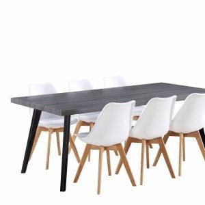 Chicago Ruokaryhmä Tumma Pöytä + 6 Valkoista Tuolia