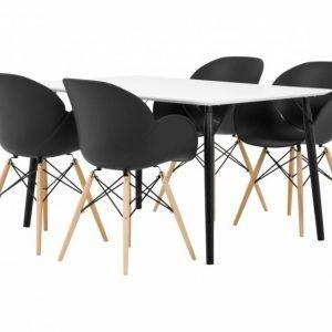 Claire Pöytä 140 Valkoinen + 4 Rana Nojatuoli Musta