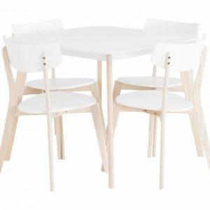 Clas Pöytä 90 + 4 Tuolia Valkoinen/Luonto