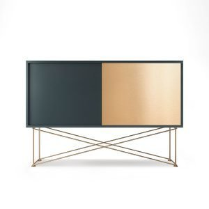 Decotique Vogue Sideboard Senkki 136h Harmaa / 1g1b / Messinki