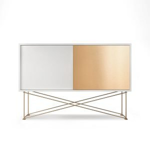 Decotique Vogue Sideboard Senkki 136h Valkoinen / 1w1b / Messinki