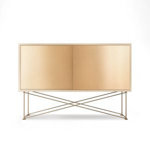 Decotique Vogue Sideboard Senkki 136h Valkoinen Tammi / 2b / Messinki