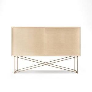 Decotique Vogue Sideboard Senkki 136h Valkoinen Tammi / 2wo / Messinki