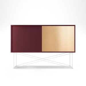 Decotique Vogue Sideboard Senkki 136h Viininpunai. / 1wr1b / Valkoinen