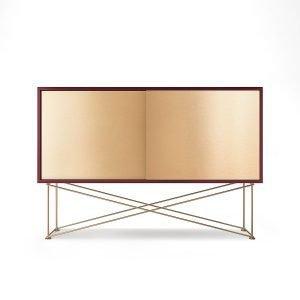 Decotique Vogue Sideboard Senkki 136h Viininpunainen / 2b / Messinki