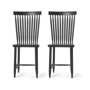 Design House Stockholm Family Chair No. 2 Tuoli Musta 2-Pakkaus