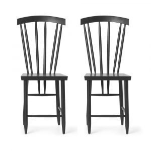 Design House Stockholm Family Chair No. 3 Tuoli Musta 2-Pakkaus