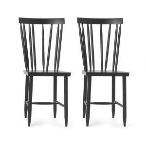 Design House Stockholm Family Chair No. 4 Tuoli Musta 2-Pakkaus