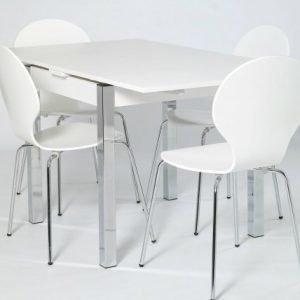 Designa Jatkettava Ruokapöytä 80x80-147 Cm Valkoinen