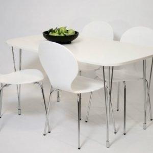 Designa Ruokapöytä 138x80 Cm Valkoinen