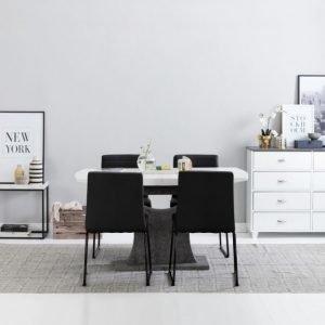 Ella Pöytä 140 Valkoinen/Betoni + 4 Frio Tuoli Musta