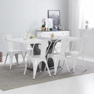Ella Pöytä 140 Valkoinen/Betoni + 6 Cannes Tuoli Valkoinen