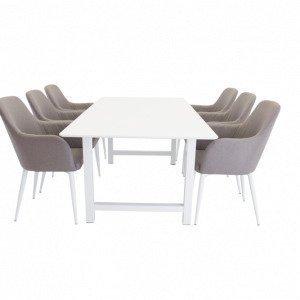 Ellos Canet Pöytä Ja 6 Croft Tuolia Ruokailuryhmä Valkoinen