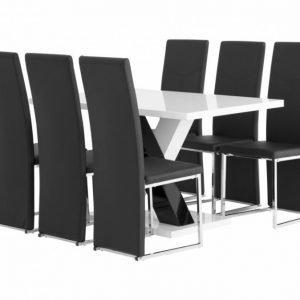 Essunga Pöytä 140 Valkoinen + 6 Billan Tuolia Musta