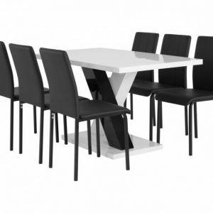 Essunga Pöytä 140 Valkoinen + 6 Veman Tuoli Musta