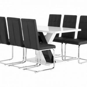 Essunga pöytä 140 Valkea + 6 ArvÅn Tuolia Musta