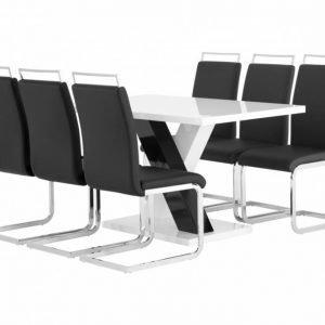 Essunga pöytä 140 Valkea + 6 Gannan Tuolia Musta