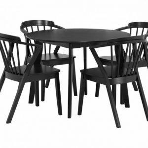 Fagerström Pöytä 107 + 4 Arboga Tuoli Musta