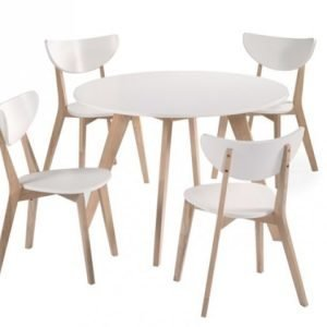 Fagerström Pöytä 110 Valkea + 4 Tuolia Natur/Valkea