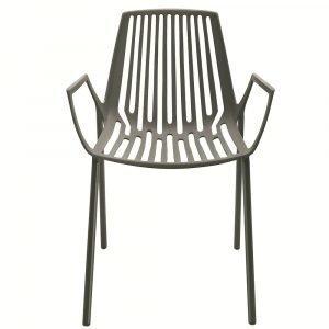 Fast Design Rion Käsinojallinen Tuoli Pinottava Harmaa Metallic