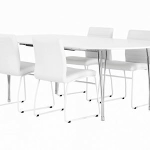 George Pöytä 160 + 4 Frio Tuolia Valkea