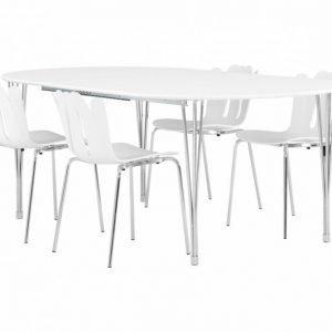 George Pöytä 160 Valkea + 4 Daisy Tuolia Valkea