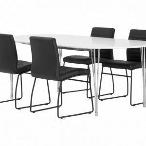 George Pöytä 160 Valkea + 4 Frio Tuolia Musta